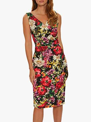 Gina Bacconi Karesa Wrap Floral Midi Dress, Black