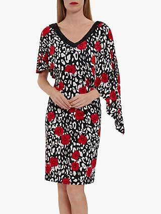 Gina Bacconi Johana Floral Jersey Midi Dress, Black/Red