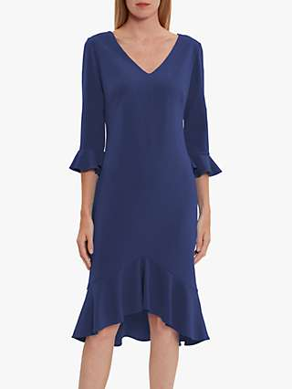 Gina Bacconi Daphne Crepe Midi Dress, Midnight