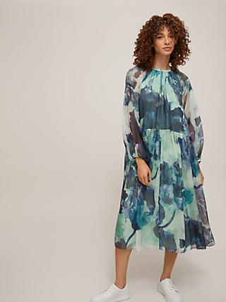 Modern Rarity Archive Decadent Bloom Trapeze Dress, Teal/Multi