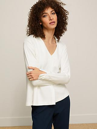 Modern Rarity V-Neck Jersey Top, Cream