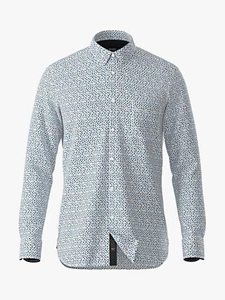 BOSS Magneton 1 Slim Fit Chambray Print Shirt, White
