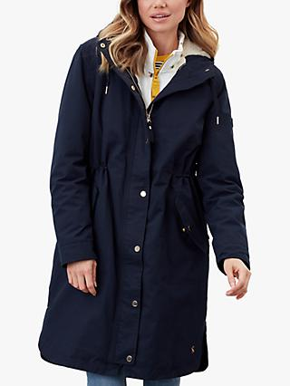 Joules Loxley Cosy Waterproof Padded Raincoat, Marine Navy