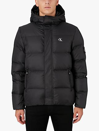 Calvin Klein Jeans Hooded Down Puffer Jacket, CK Black