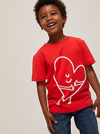 Give a Little Love Children's Hugging Heart Print Cotton T-Shirt, Red