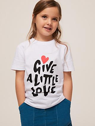 Give a Little Love Children's Cotton T-Shirt, White