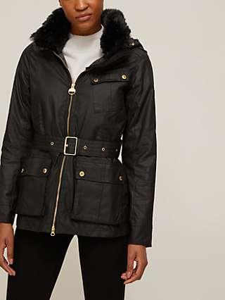 Barbour International Stenmark Waxed Faux Fur Collar Jacket, Black