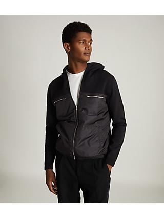Reiss Cooper Hybrid Hooded Jacket, Black