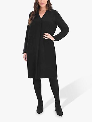 Live Unlimited Curve Pleat Neck Dress, Black