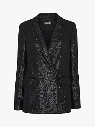 Whistles Double Breasted Sequin Blazer, Black