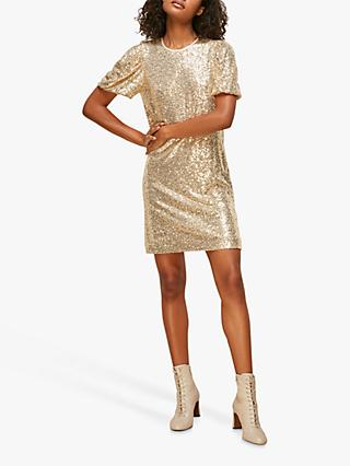 Whistles Sequin Shift Dress, Champagne