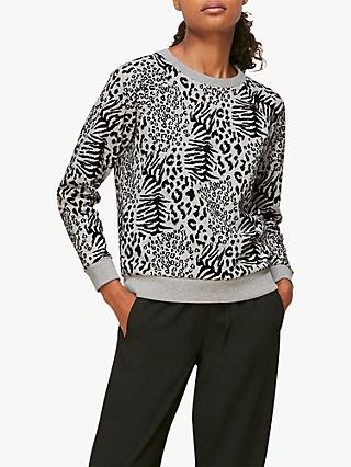 Whistles Animal Print Sweatshirt, Grey Marl