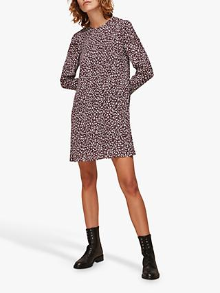 Whistles Georgina People Print Zip A-Line Dress, Burgundy