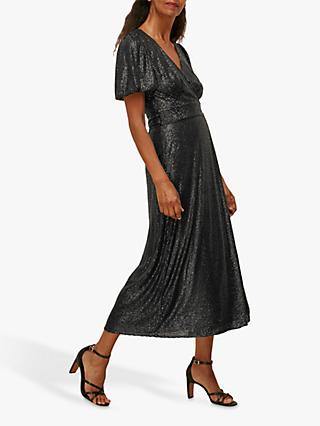 Whistles Sequin Wrap Midi Dress, Black