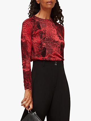 Whistles Snake Long Sleeve Top, Red