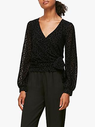 Whistles Flocked Animal Blouse, Black