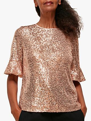 Whistles Sada Sequin Top, Champagne