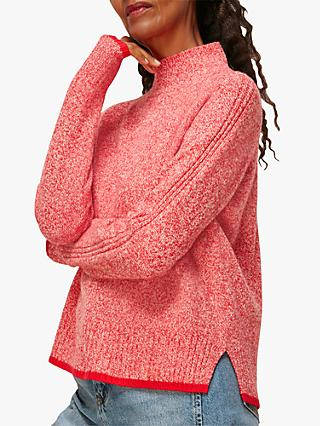 Whistles Tipped Merino Wool Funnel Neck Jumper, Red