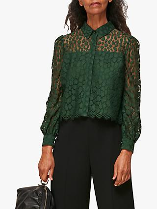 Whistles Animal Lace Print Shirt, Dark Green