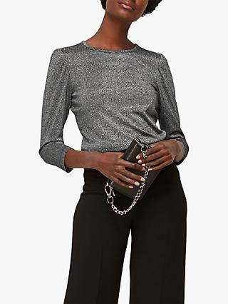 Whistles Puff Sleeve Sparkle Top, Silver