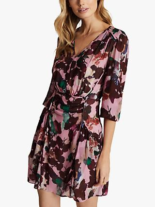 Reiss Josephine Floral Printed Mini Dress, Pink