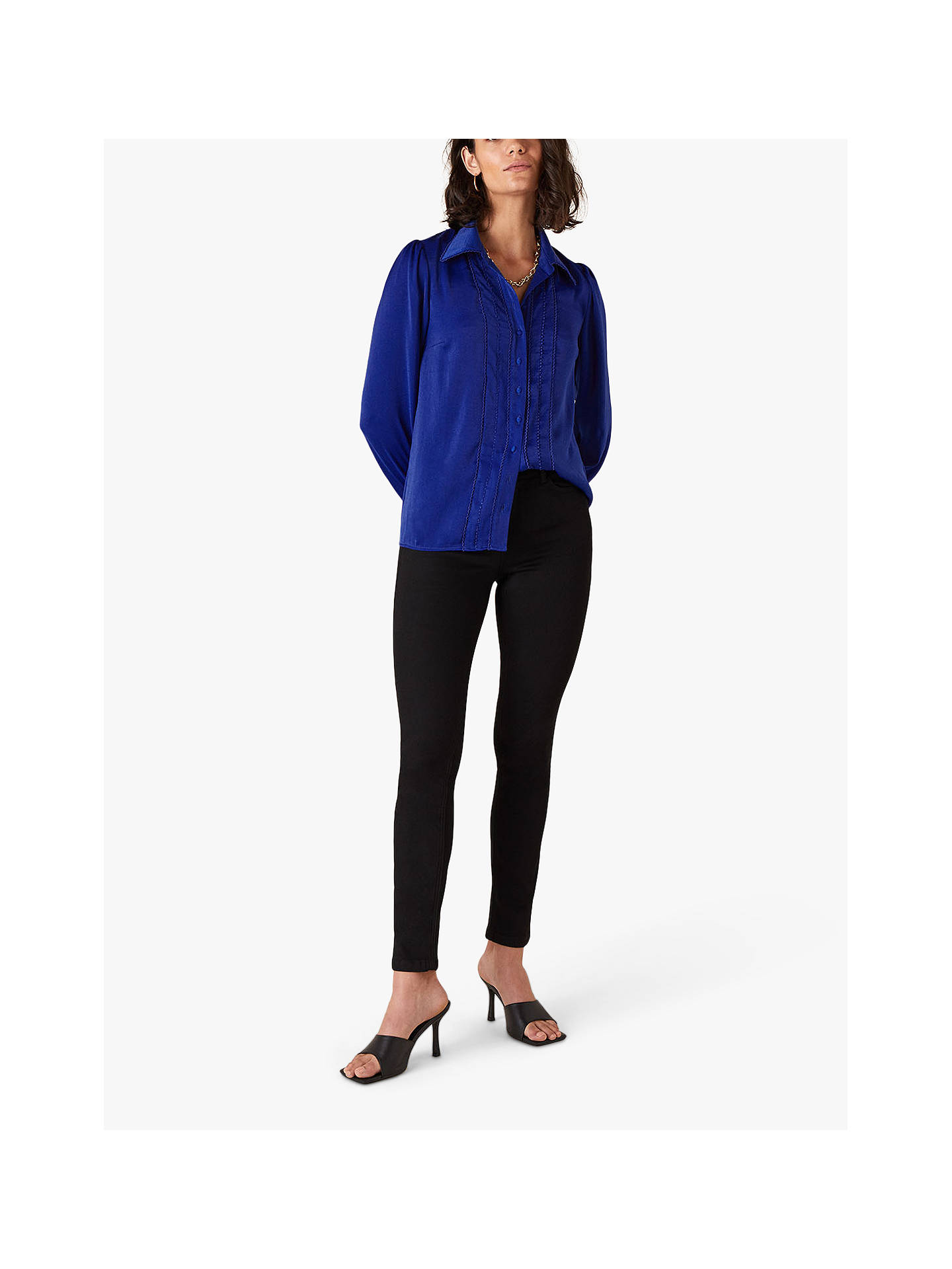Buy Monsoon Peggy Trim Blouse, Blue, 8 Online at johnlewis.com