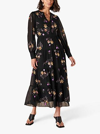 Monsoon Seraphina Embellished Stars Dress, Black