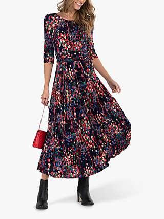 Jolie Moi Abstract Spot Flared Dress, Navy/Multi