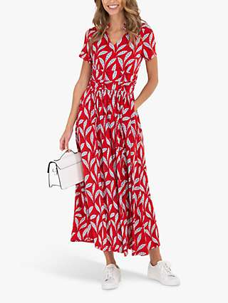 Jolie Moi Leaf Midi Dress, Red
