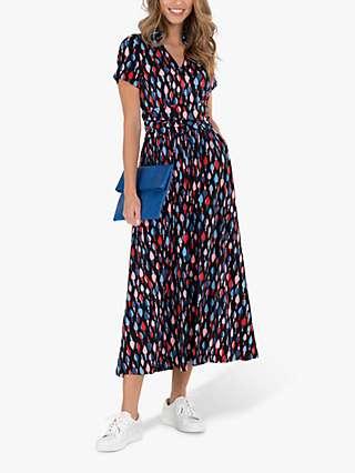 Jolie Moi Geometric Print Midi Dress, Navy/Multi