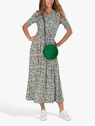 Jolie Moi Abstract Floral Midi Dress, Green