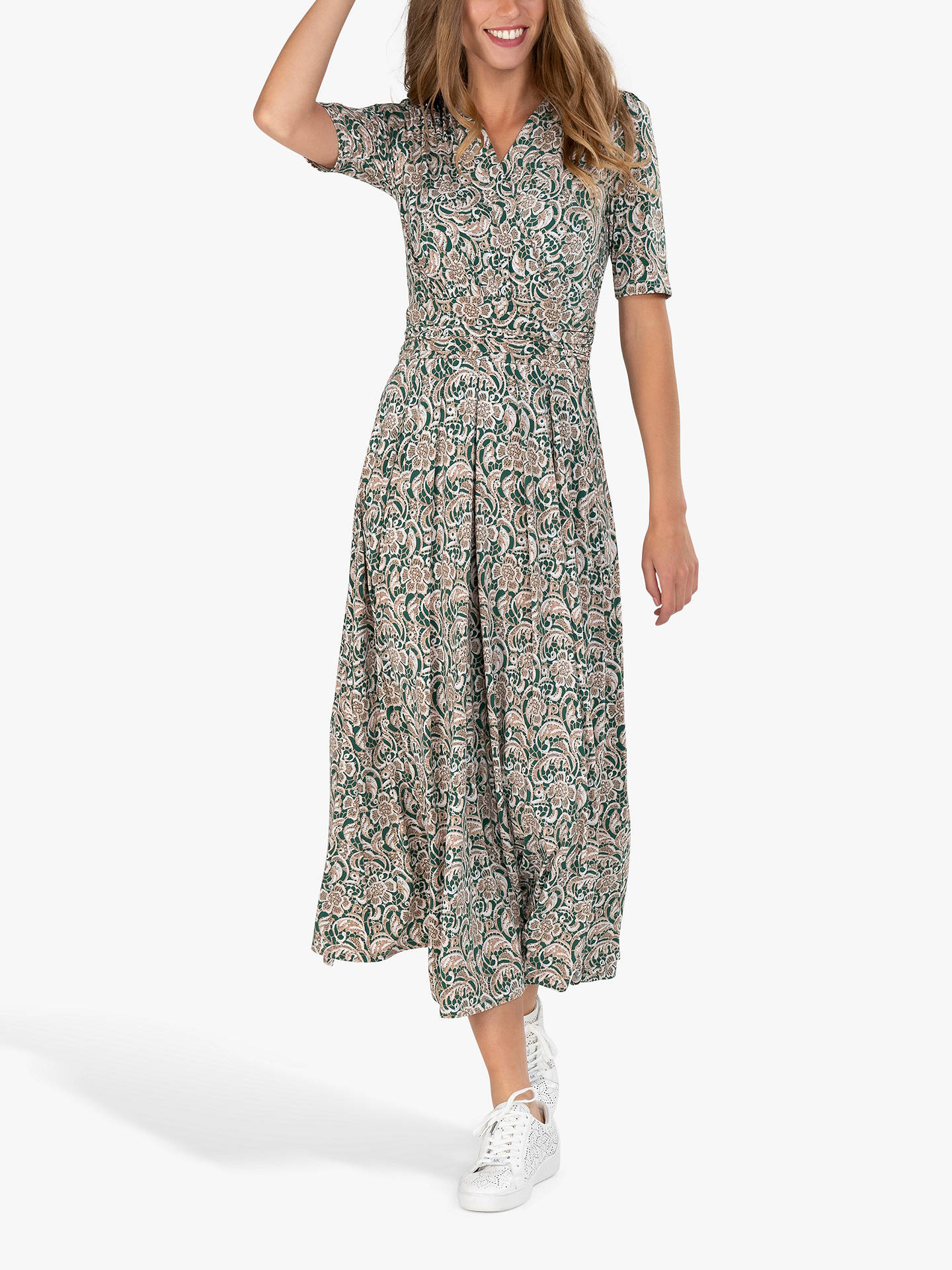 Buy Jolie Moi Abstract Floral Midi Dress, Green, 14 Online at johnlewis.com