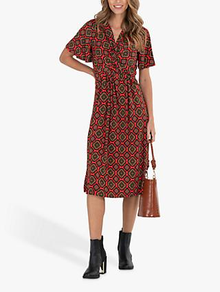 Jolie Moi Retro Geometric Print Dress, Red