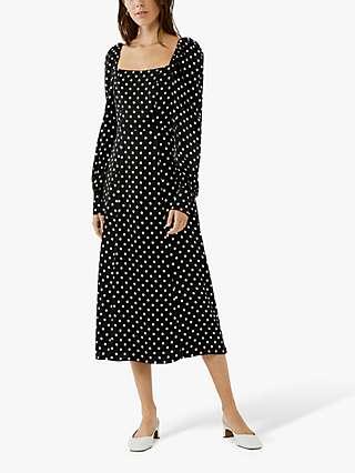 Ghost Molly Polka Dot Midi Dress, Black