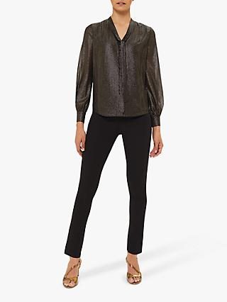 Hobbs Wren Tie Neck Metallic Blouse, Black/Gold