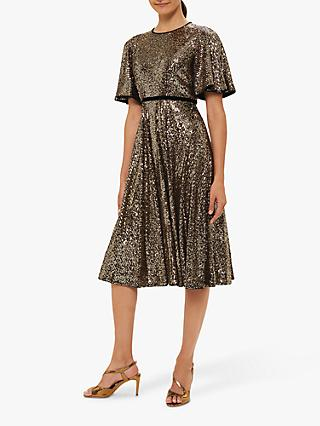 Hobbs Betsey Sequin Dress, Metallic