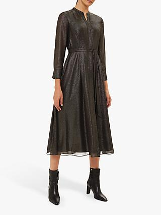 Hobbs Wren Metallic Shirt Dress, Black/Gold