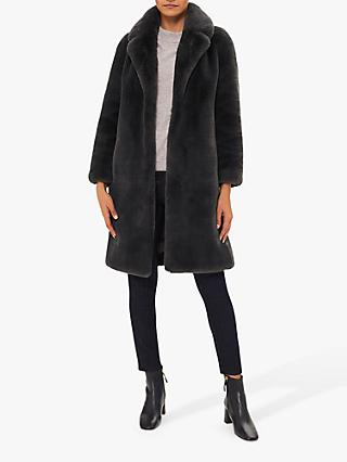 Hobbs Georgia Faux Fur Collar Coat, Charcoal