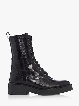 Bertie Pippy Leather Croc Embossed Biker Boots, Black