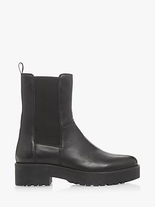 Bertie Praised Fleece Lined Leather Ankle Boots, Black