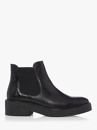 Bertie Pips Leather Croc Embossed Chelsea Boots, Black
