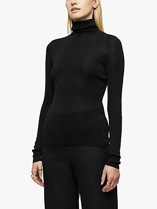 Jigsaw Silk Cotton Polo Neck Jumper, Black