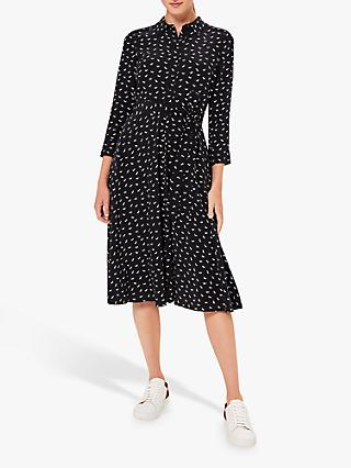 Hobbs Emmaline Scottie Dog Print Shirt Dress, Navy/Ivory
