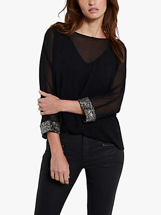 Mint Velvet Sequin Top, Black