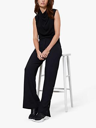 Mint Velvet Split Side Wide Leg Trousers, Black