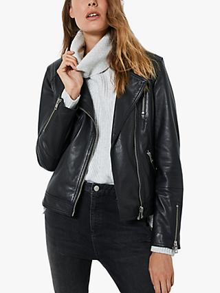 Mint Velvet Zip Up Leather Biker Jacket, Black