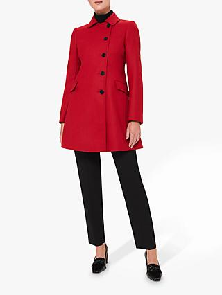 Hobbs Odette Wool Button Up Coat, Red