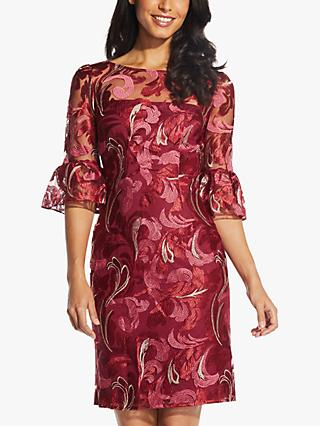Adrianna Papell Scroll Embroidered Dress, Red/Multi