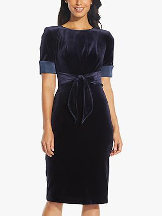 Adrianna Papell Velvet Tie Pencil Dress, Navy