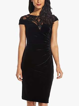 Adrianna Papell Velvet Sequin Dress, Black
